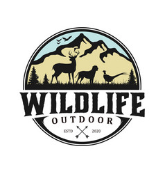 Outdoor mountain nature logo - hunting animal vector