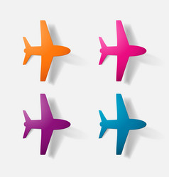 Paper clipped sticker aircraft airliner vector