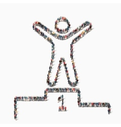 People shape winner pedestal icon vector