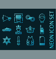 police set icons blue glowing neon style vector image