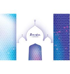 ramadan kareem greeting card paper cut mosque vector image
