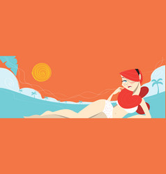 Redhead sexy girl laying on the beach vector