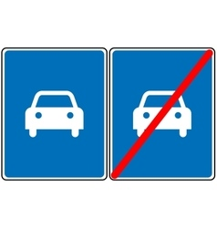 Road for car sign blue symbol Only car vector image