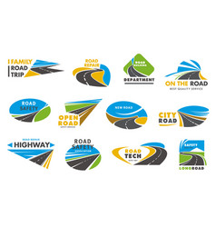 road safety icons pathway or highway vector image