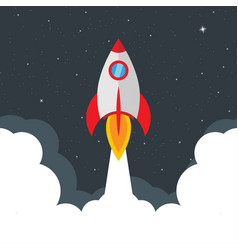 rocket launch startup concept star sky business vector image