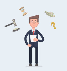 Sad broken businessman standing with legal paper vector