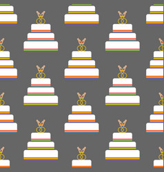 Same sex wedding cake seamless pattern vector