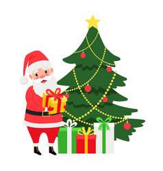 santa and christmas tree vector image