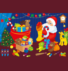 Santa claus collects gifts children christmas bag vector