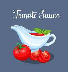 saucers with tomato sauce and vegetables vector image