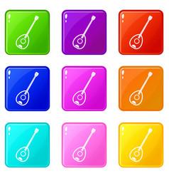 Saz turkish music instrument icons 9 set vector