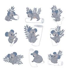 set of adorable koala bears on tree trunks vector image