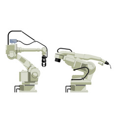 Set of assembly handling and welding robots vector