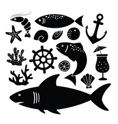 set of black silhouettes of shark fish shrimp vector image