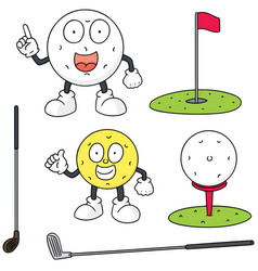 set of golf equipment vector image