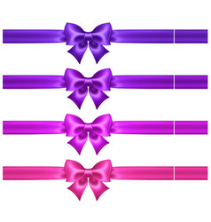 Silk ultra violet and pink bows with ribbons vector
