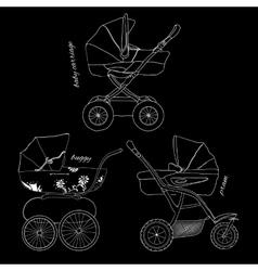 sketch of children white pram vector image