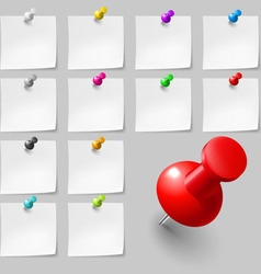 Sticky notes with pushpins vector image