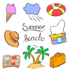 Summer beach object of doodles vector