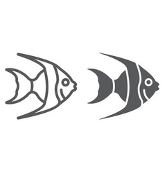 tropical fish line and glyph icon animal vector image