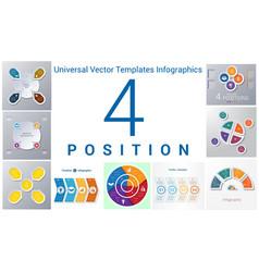 Universal templates set infographics 4 positions vector