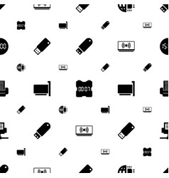 usb icons pattern seamless white background vector image