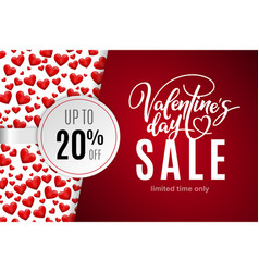 Valentines day holiday sale 20 percent off vector