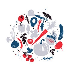 Various of vegetables in a circle autumn crop vector
