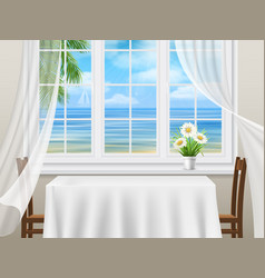 view from window to sea vector image