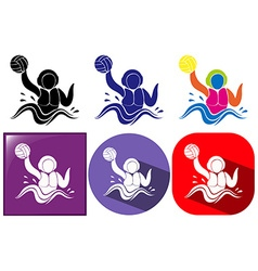 Water polo icon in three design vector
