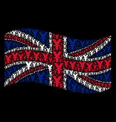 waving great britain flag mosaic of yuan items vector image