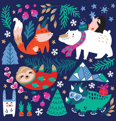 whimsical winter animal set polar bear vector image
