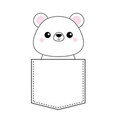 White bear head face in the pocket pink cheeks vector