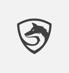 wolf shield logo vector image
