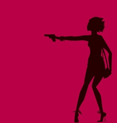 Woman silhouette with gun spy agent concept vector