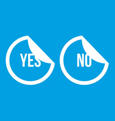Yes and no buttons icon white vector