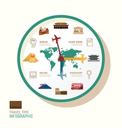 Infographic watch and travel flat icons idea trav vector image vector image