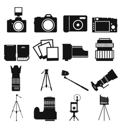 Photography simple icons vector image