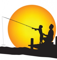 child and man silhouettes fishing vector image vector image