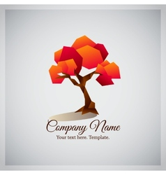 Company business logo with geometric red tree vector image vector image