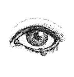 dotwork crying eye vector image vector image