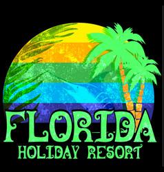florida beach typography tee graphic design vector image