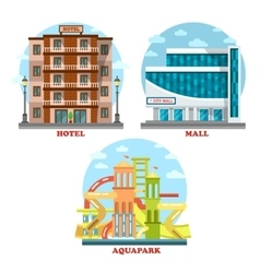 Hotel and aqua or water park mall supermarket vector image vector image