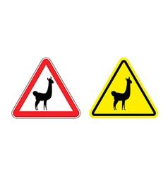 Warning sign attention Lama Hazard yellow sign vector image vector image