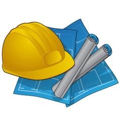 hardhad and blueprints vector image
