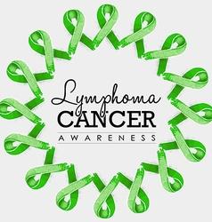 Lymphoma cancer awareness ribbon design with text vector image vector image