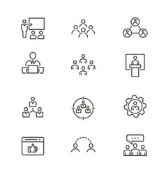 management consulting - line icon set vector image