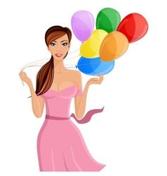 Woman balloon portrait vector image vector image