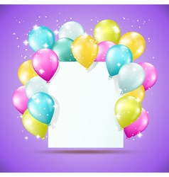 blank white card with balloons vector image