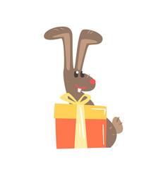 cute cartoon rabbit with big gift box happy vector image